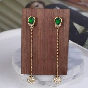 NWOT Alexis Bitter Green Stone Gold Crystal Tassel
